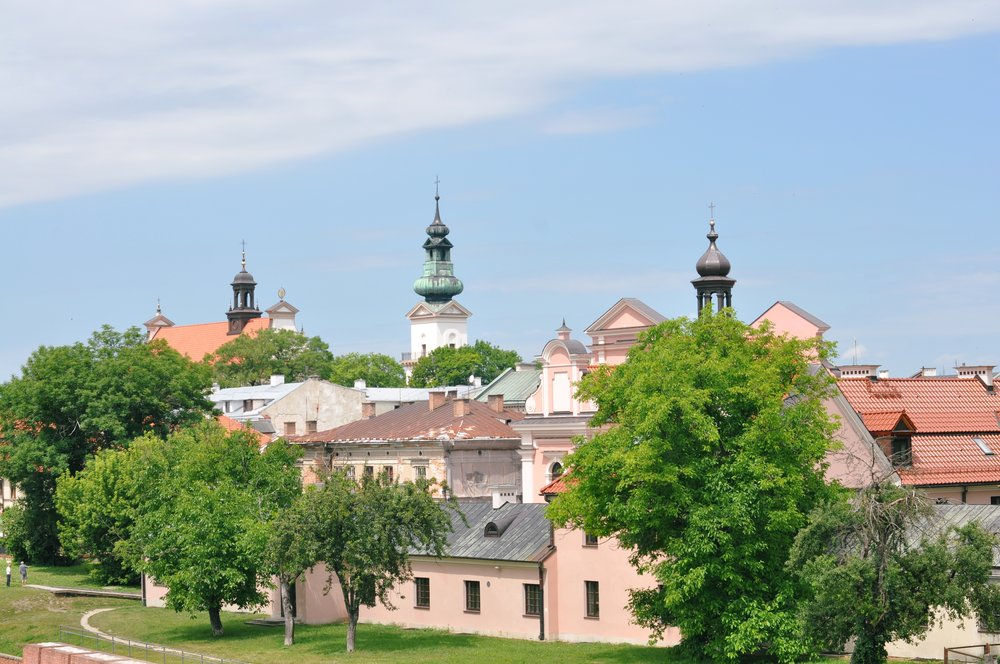 View of the spires of Zamość, Poland
