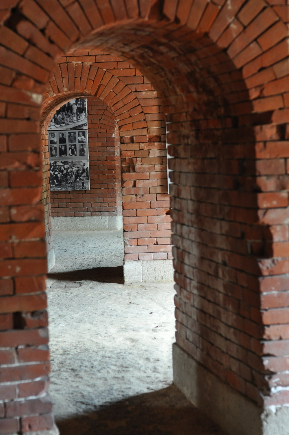 Looking through the cells in the Rotunda in Zamosc, Poland