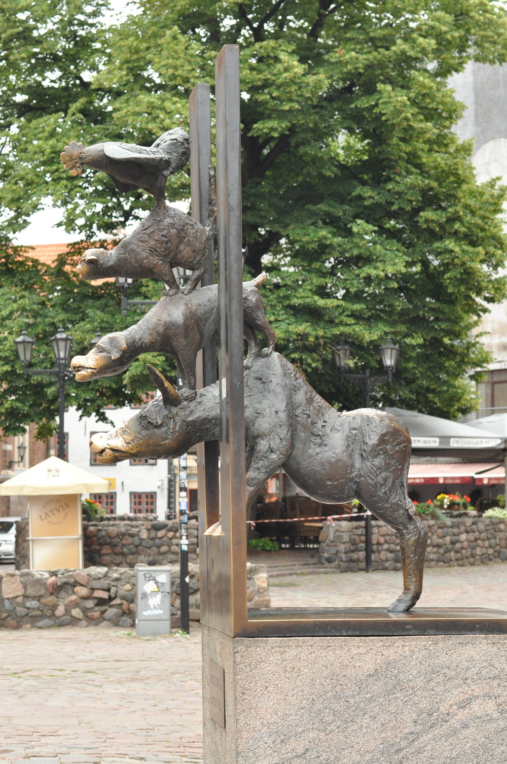 Bremen Town Musicians Statue in Riga, Latvia