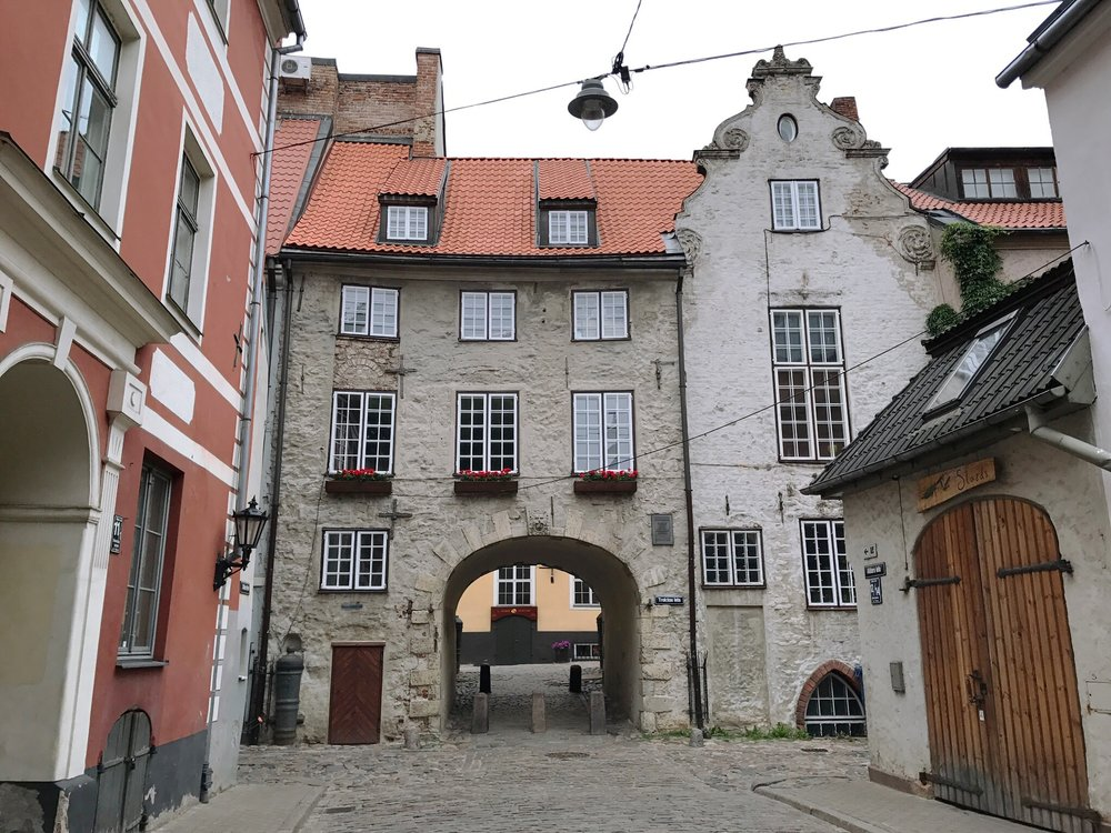 Archway in Old Town in Riga, Latvia