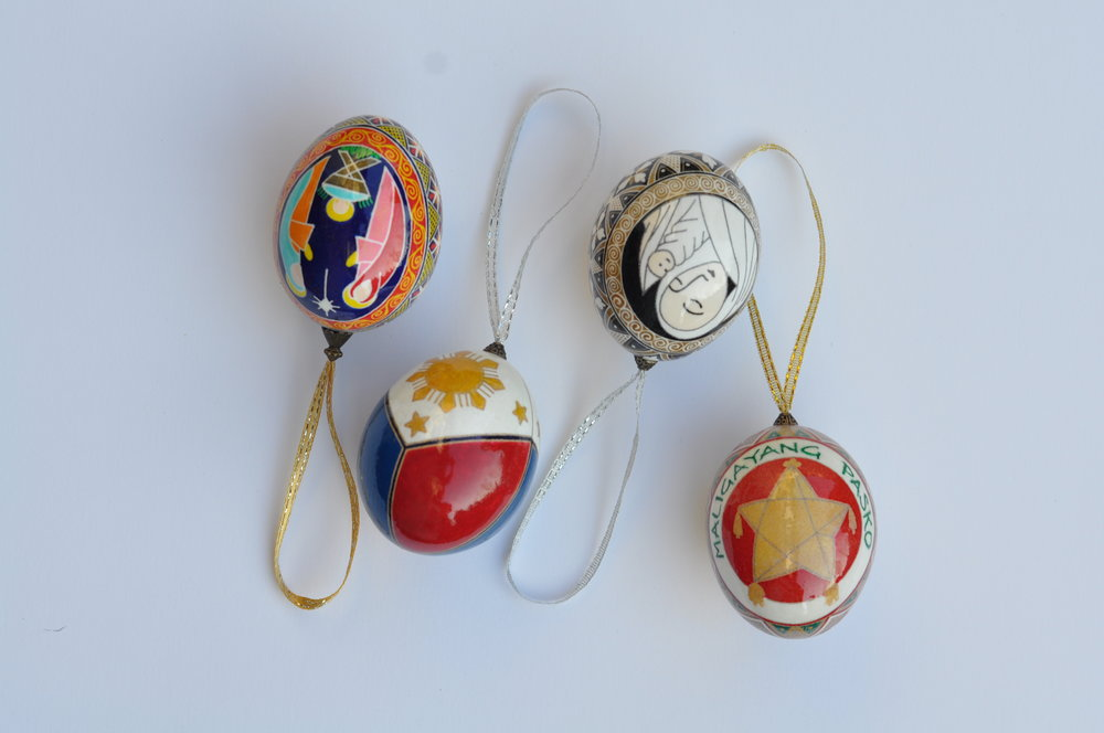 Philippine painted egg Christmas ornaments