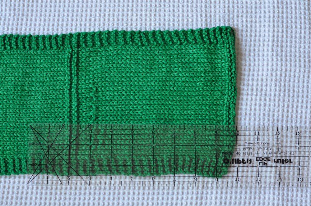 Measuring knitting gauge on a sample swatch