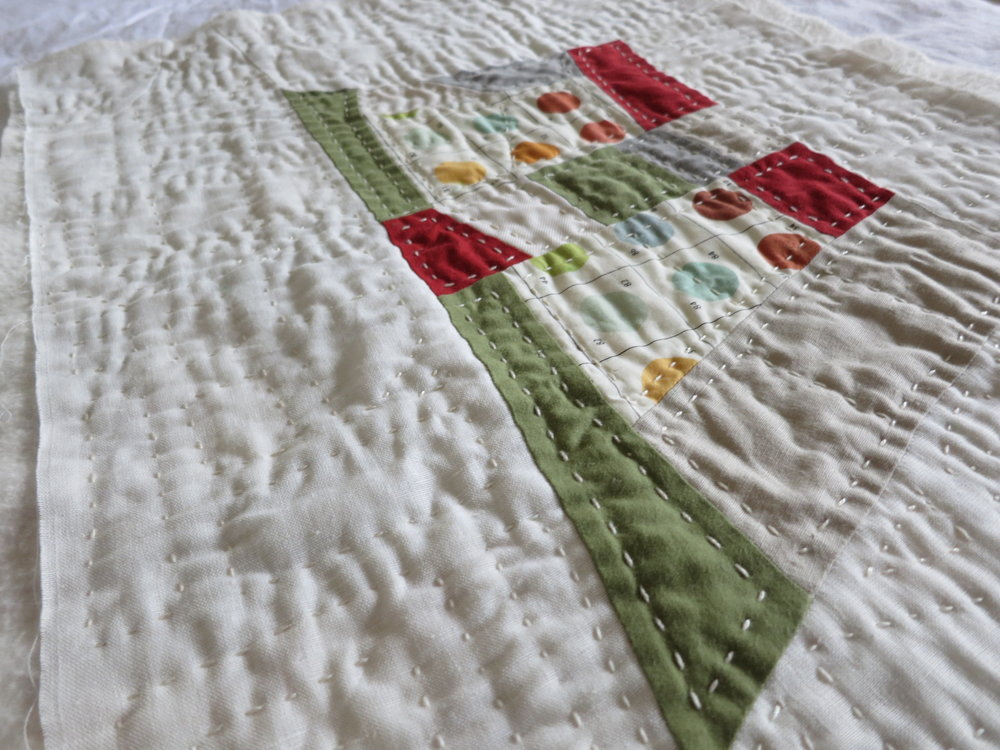 Close-up of handquilting on an improv mini-quilt