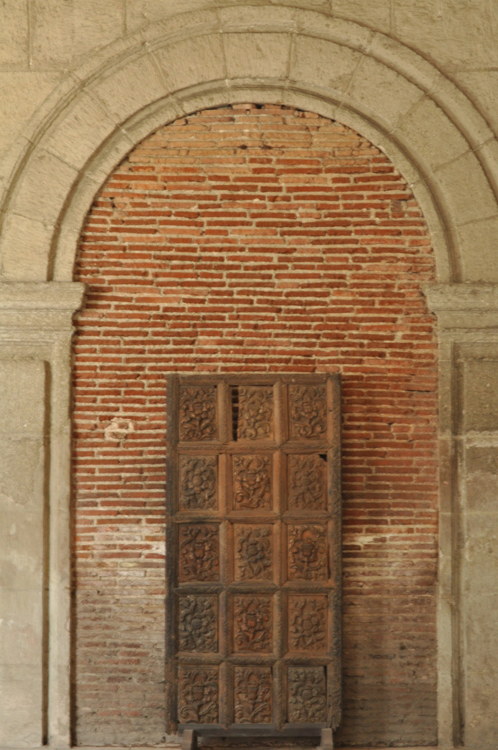 Antique chest in front of brick wall in San Agustin Church, Intramuros, Manila Philippines