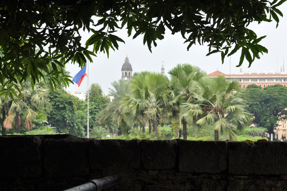 Philippine flag flown over Fort Santiago Intramuros, Manila, Philippines