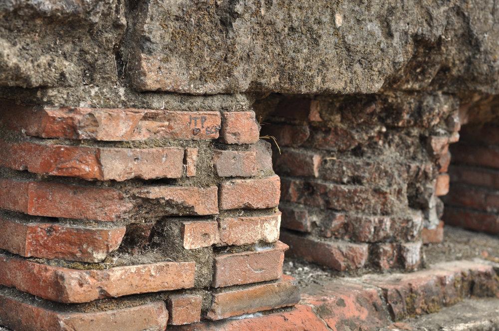 Eroding bricks in Fort Santiago Intramuros, Manila, Philippines