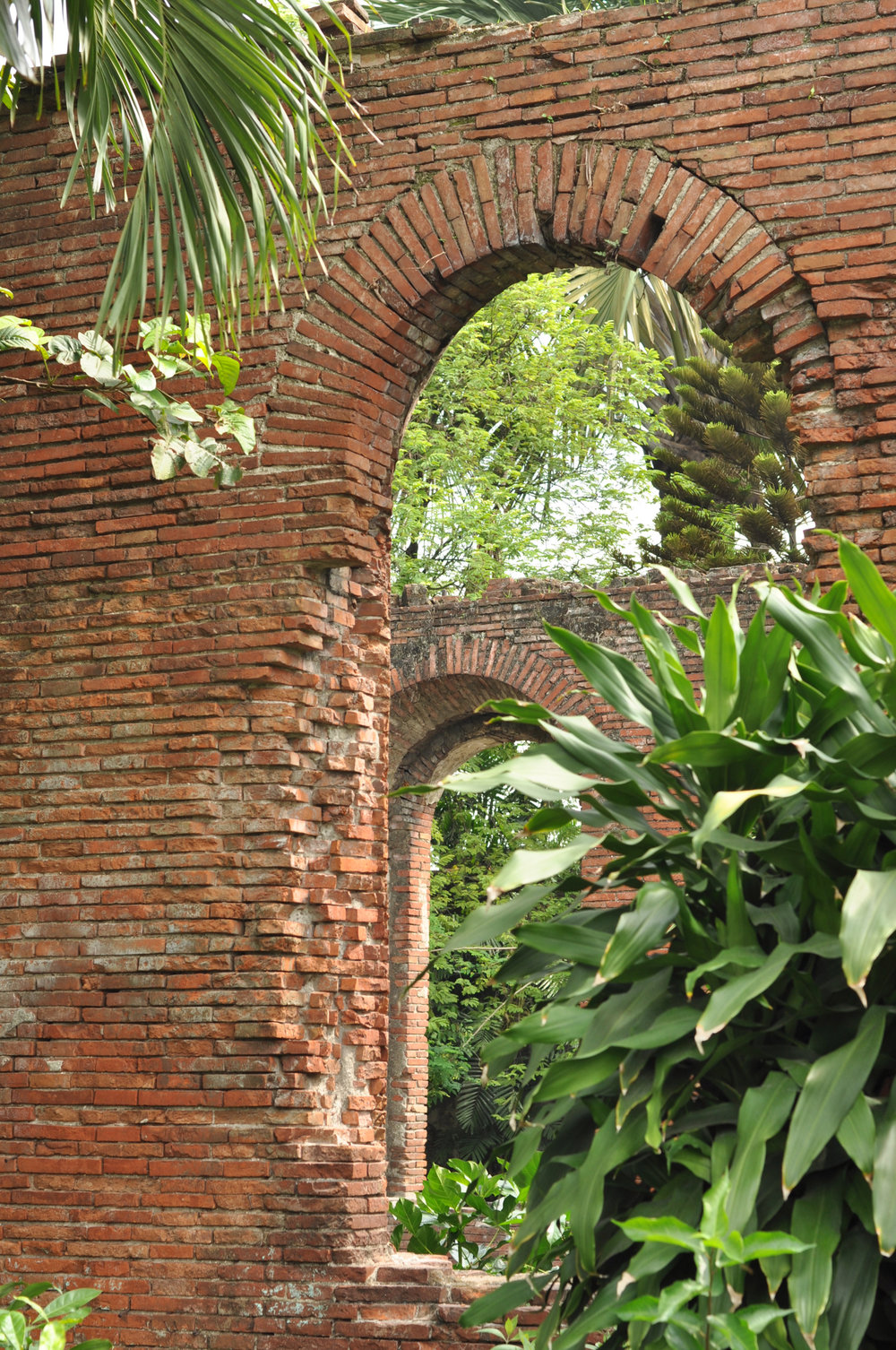 Archways in the remains of a wall in Fort Santiago Intramuros, Manila, Philippines