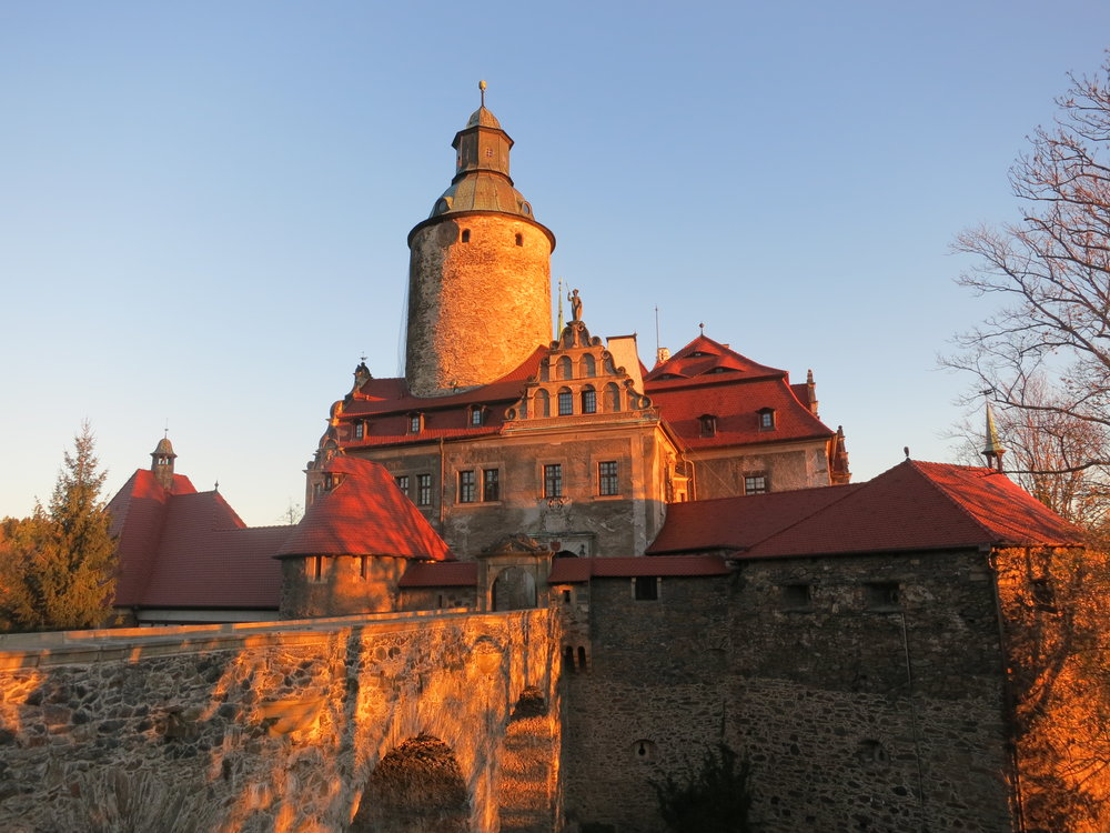 Czocha Castle in the sunrise; Stankowice-Sucha, Poland