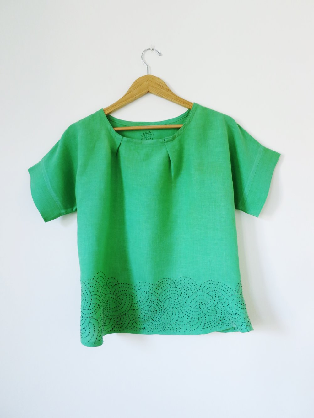 Modified Maya Top with embrodery around the hem