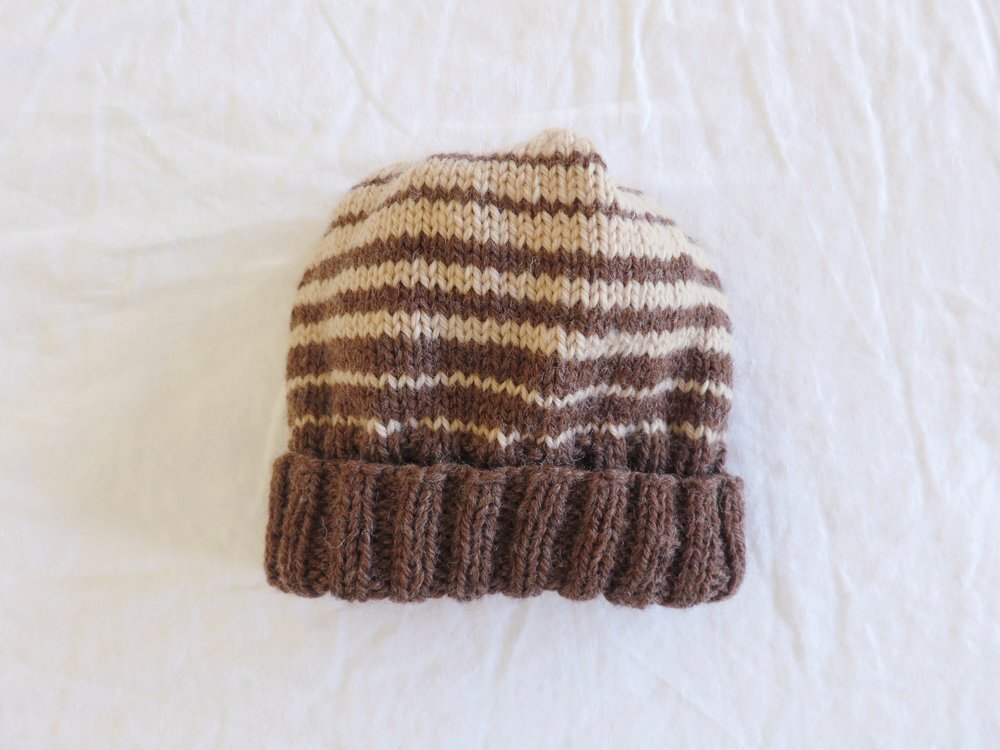 Brown striped wool hat