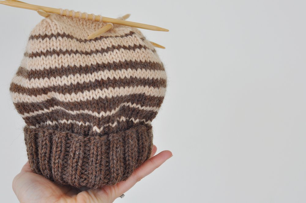 Brown striped knitted wool hat