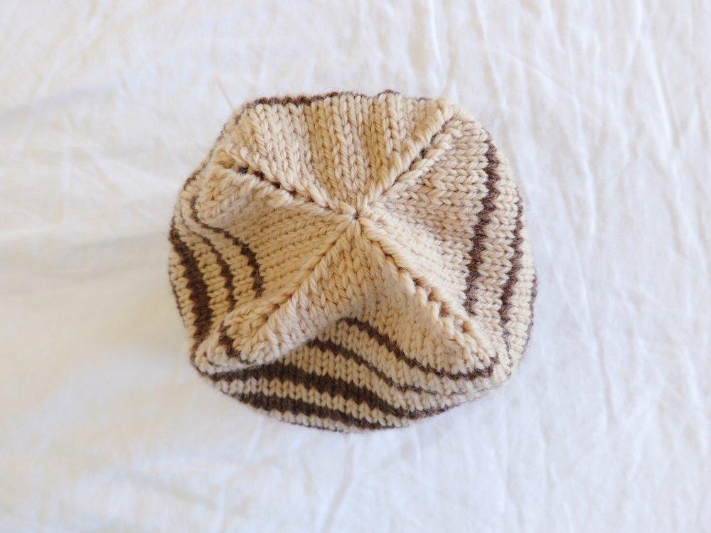 Brown striped wool hat
