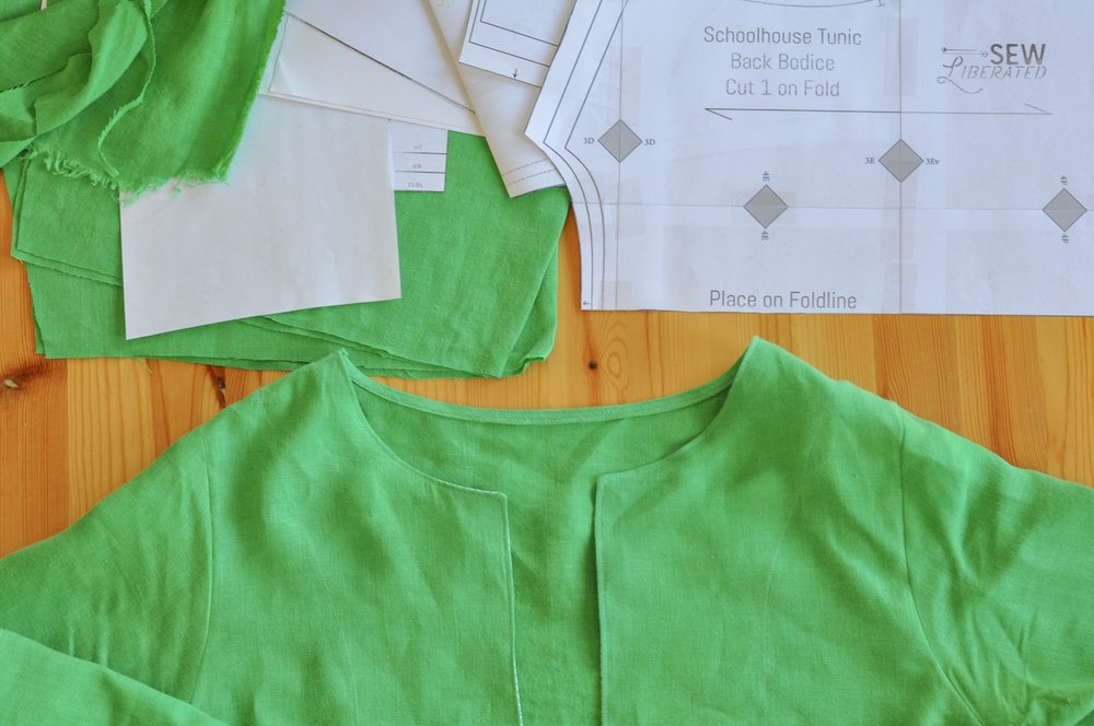 Schoolhouse Tunic pattern being cut out