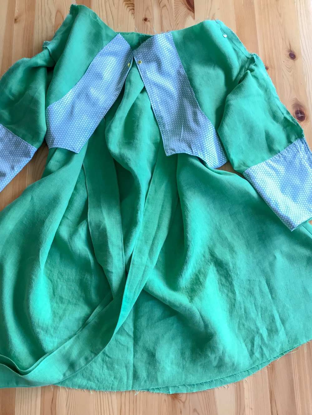 Bodice and skirt pinned together ready for assembly on a Schoolhouse Tunic
