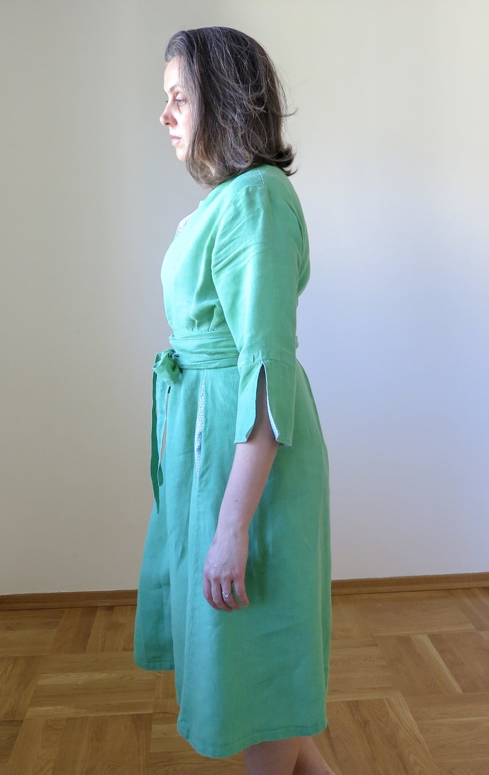 Green linenchoolhouse Tunic Dress hack, side view