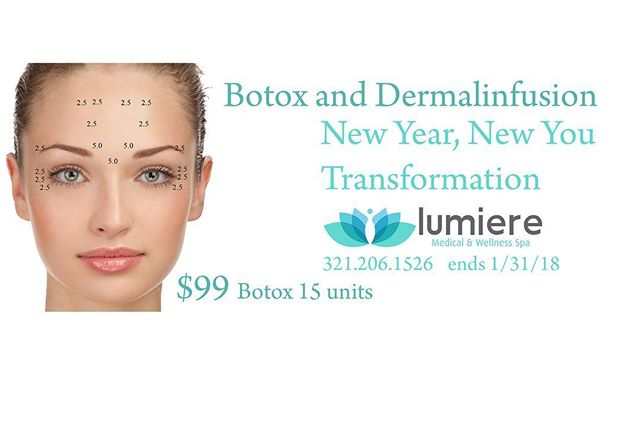 $99 Botox 15 units (limit 1 per client) $249 Botox 15 units with 1 #Delmalinfusion treatment Sale ends 1/31/18 call 321.206.1526 #newyear #newyou #botox