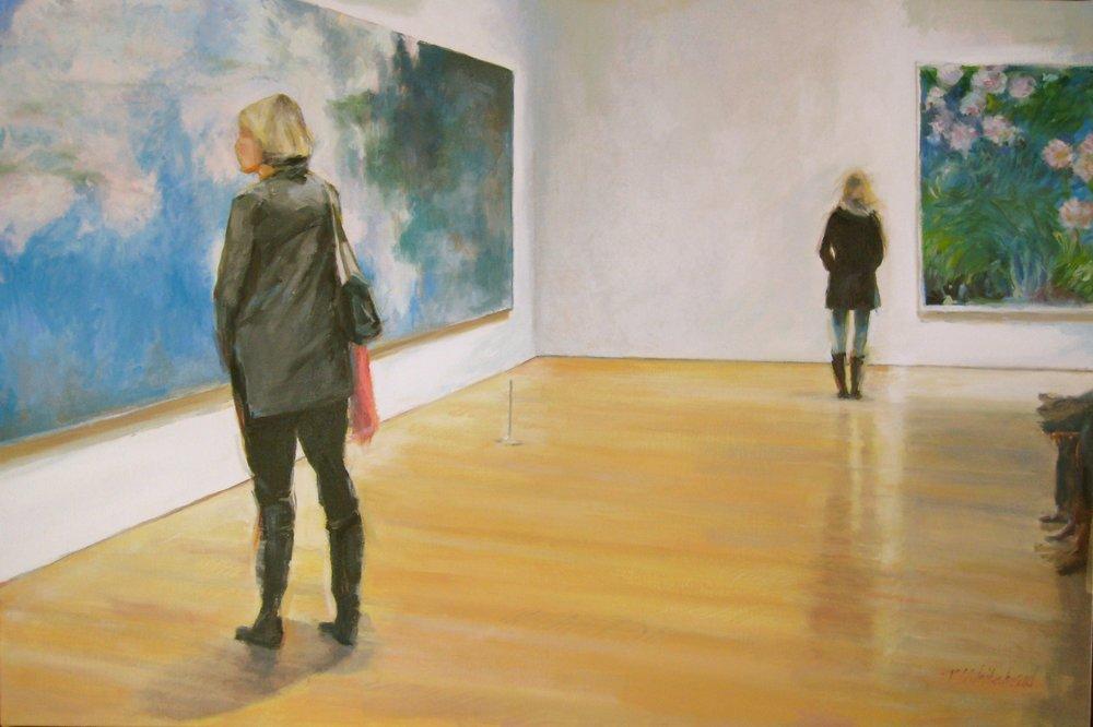 "In Monet's Garden, 36 x 24"", oil"