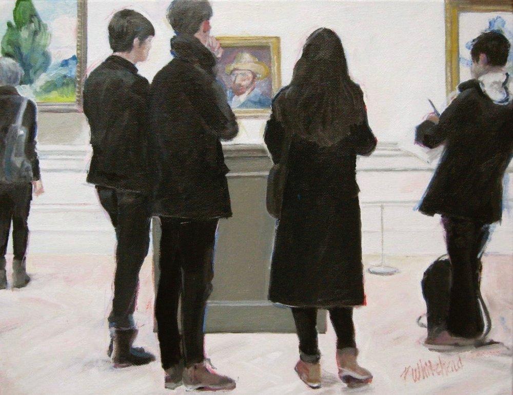 "Studying van Gogh, 17 x 11"", Oil (sold)"