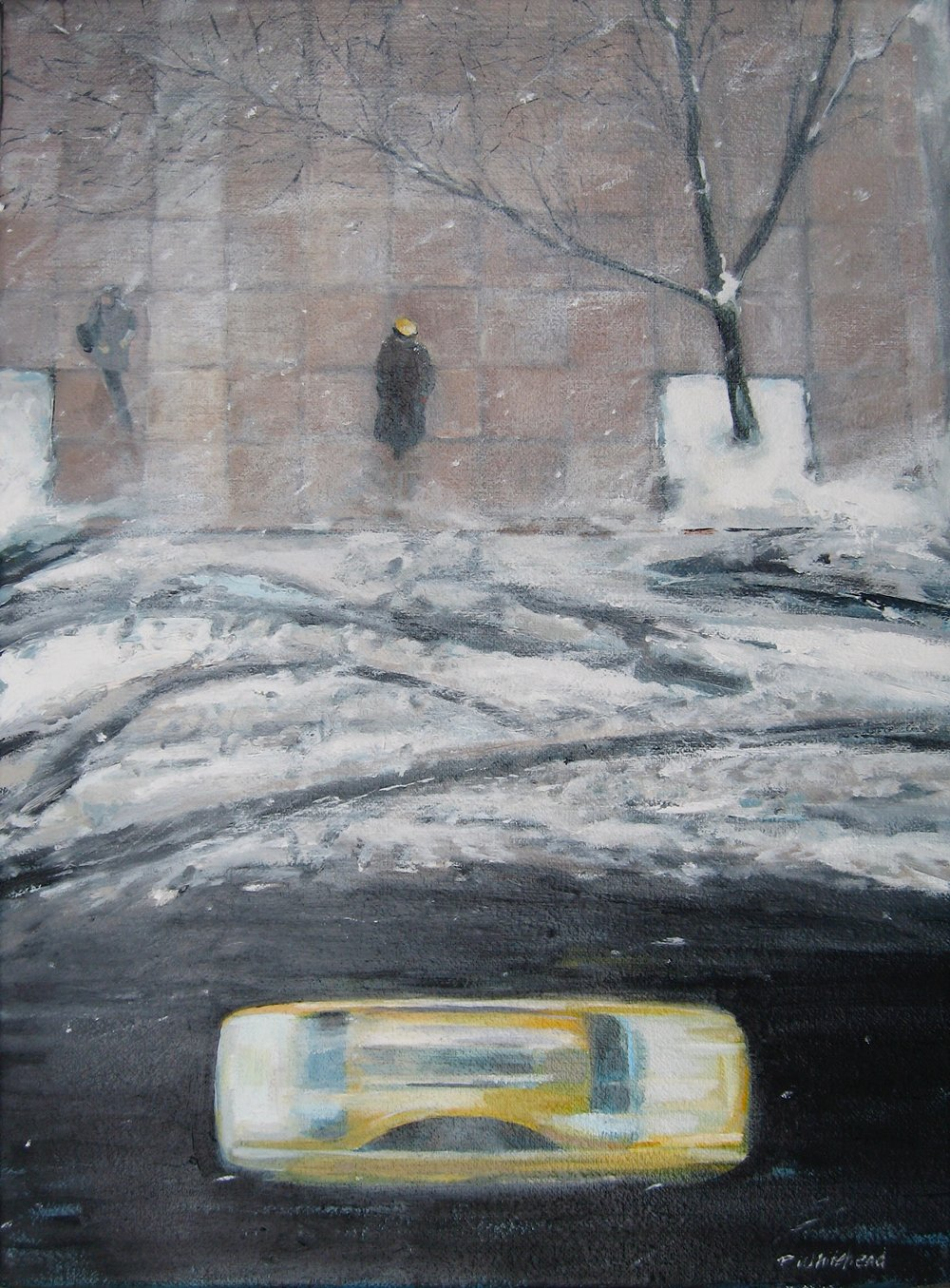 "NYC:Winter Taxi, 12 x 16"", Oil, (sold)"