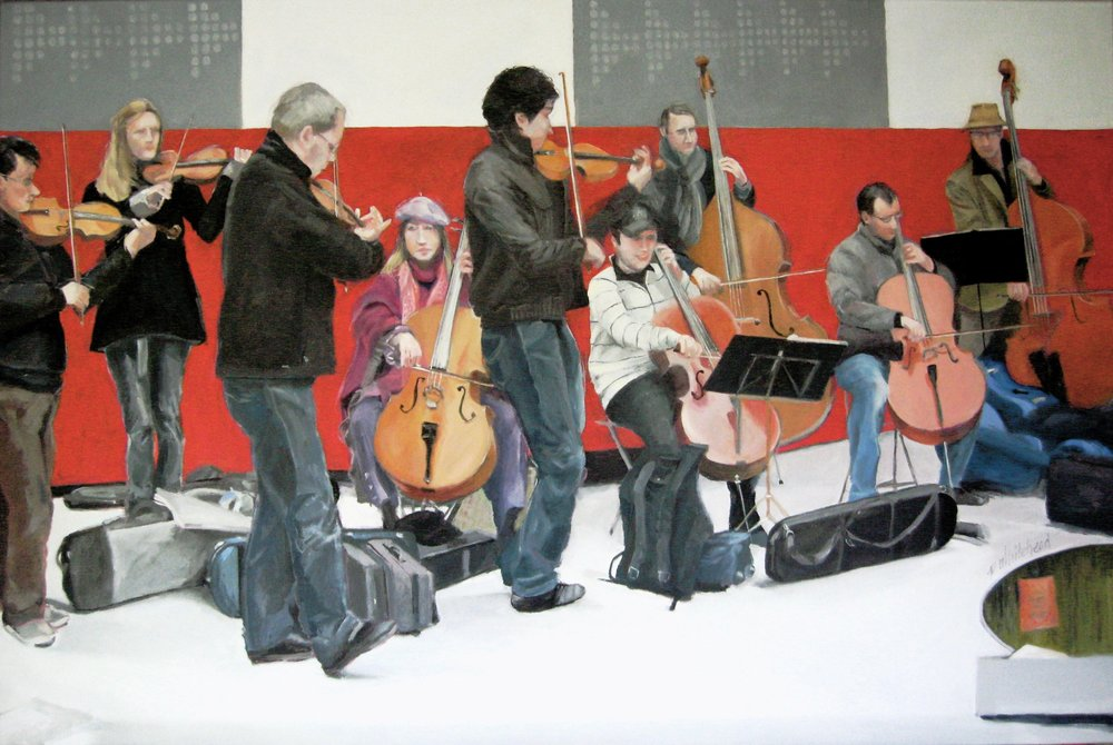 Paris Street Musicians, 36 x 24, Oil