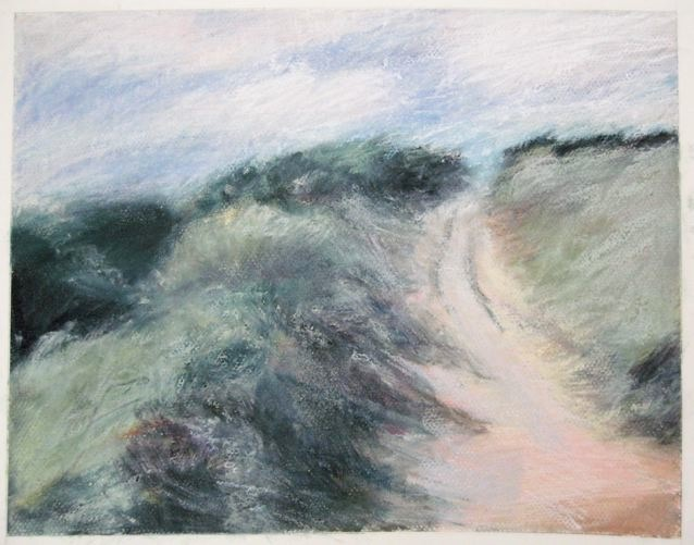 "Coastal Path in Wales, 14 x 11"", pastel on paper (sold)"