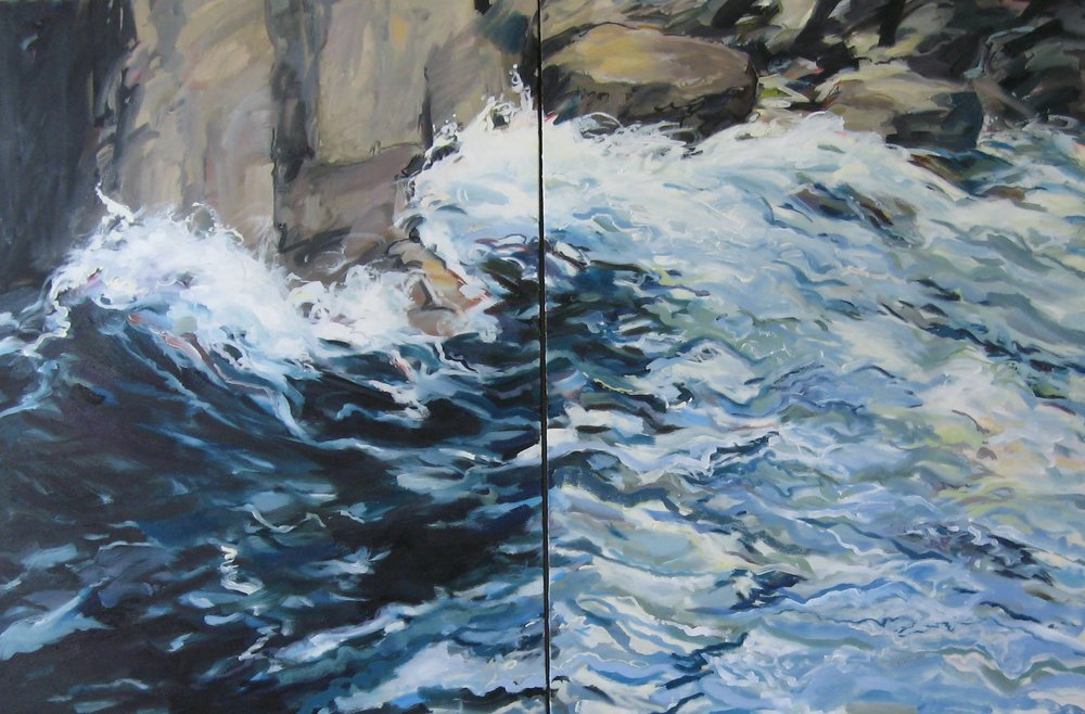"Wave #12, diptych, 60 x 40"", Oil"