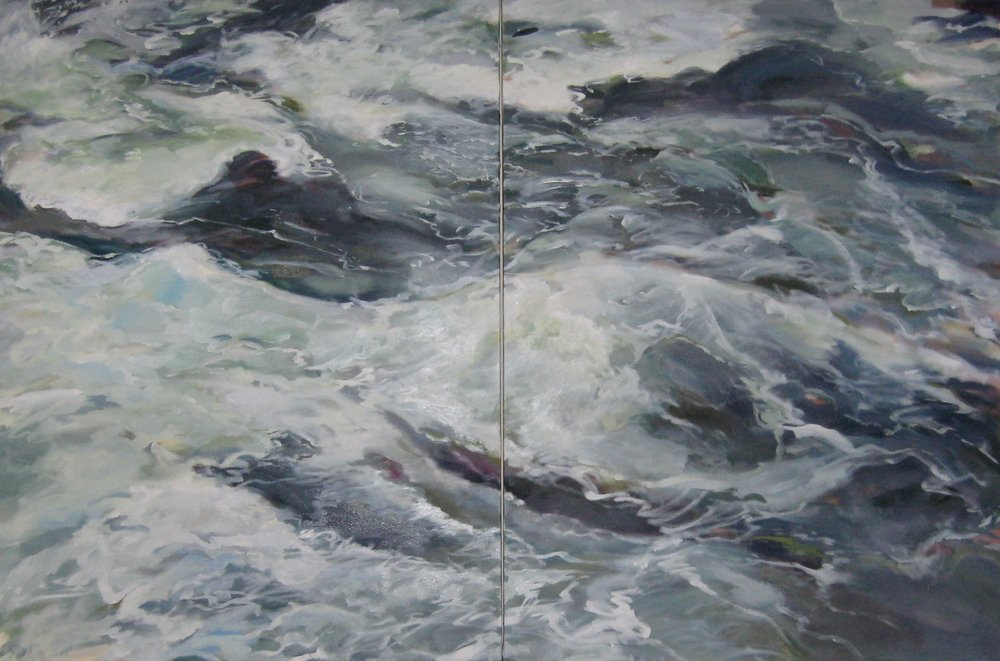 "Wave #9 diptych, 60 x 40"", Oil"