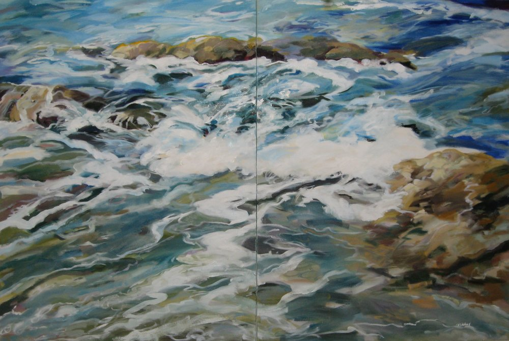 "Wave #15 diptych, 60 x 40"", Oil"