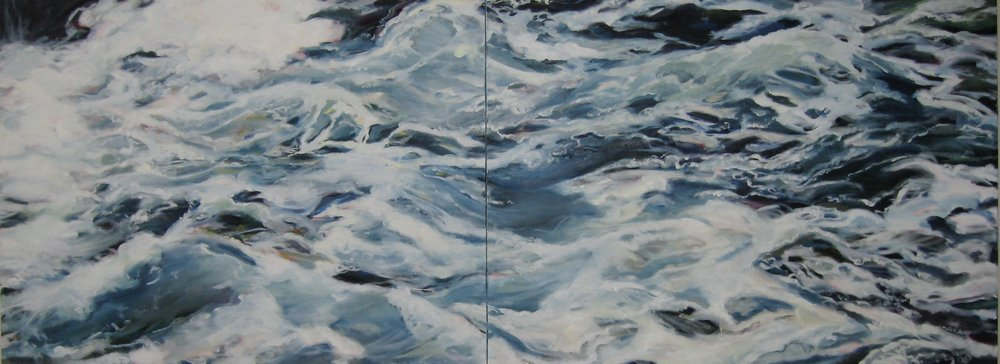 "Wave #17 diptych, 80 x 30"", Oil (sold)"