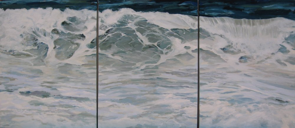 "Wave #23 Triptych, 108"" x 48"", Oil (sold)"