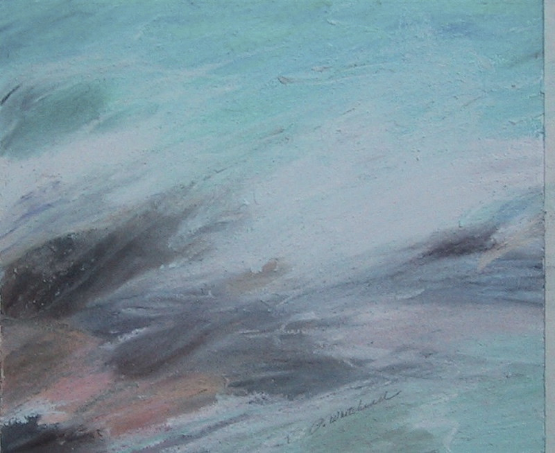 Caribbean Waves #1, 6 x 5, pastel