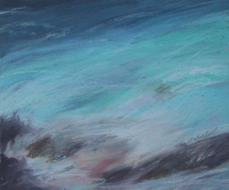 "Caribbean Wave #2, 6 x 5"", pastel, (sold)"