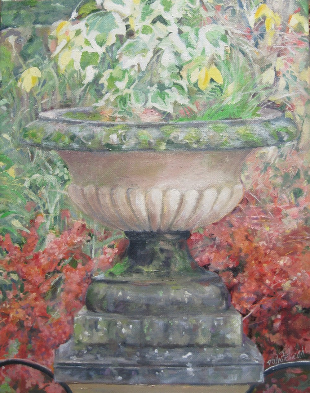 "English Garden, The Urn, 11 x 14"", oil"