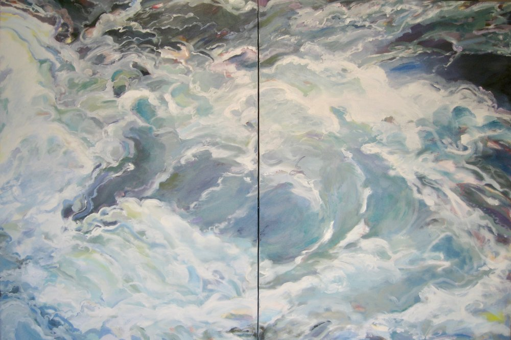 "Wave #13, diptych, 60 x 40"", Oil"