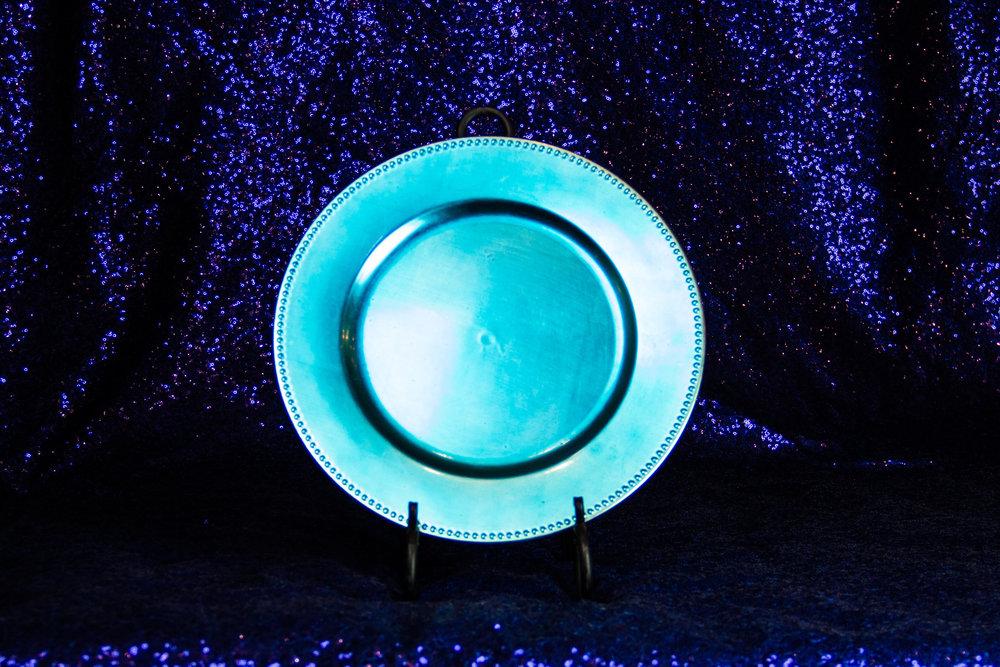 turquoise beaded acrylic charger