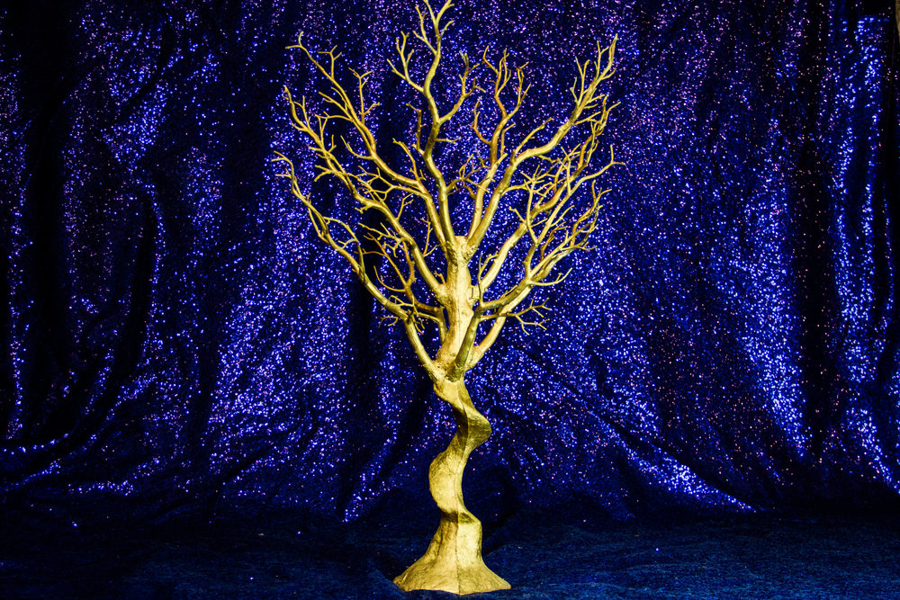 Gold Resin Trees with Clear Crystal Stands