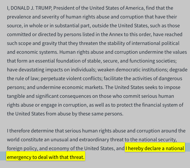 Language from the 12/21/2017 Presidential Executive Order, activating a state of national emergency.