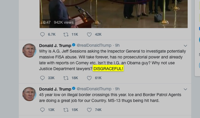 """DISGRACEFUL!"" Trump declared of his Attorney General's lack of real action on FISA abuse."
