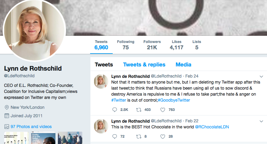Lynn Forester de Rothschild left Twitter, it appears.