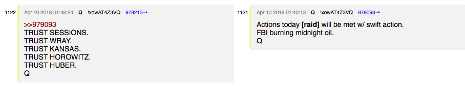 Fresh QANON postings 4/10/2018