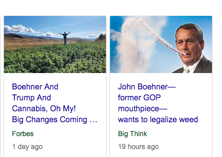 John Boehner does the all-American thing and is putting money ahead of hypocritical outdated party orthodoxy on weed
