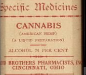 Old cannabis medicine bottle from an American pharmacy