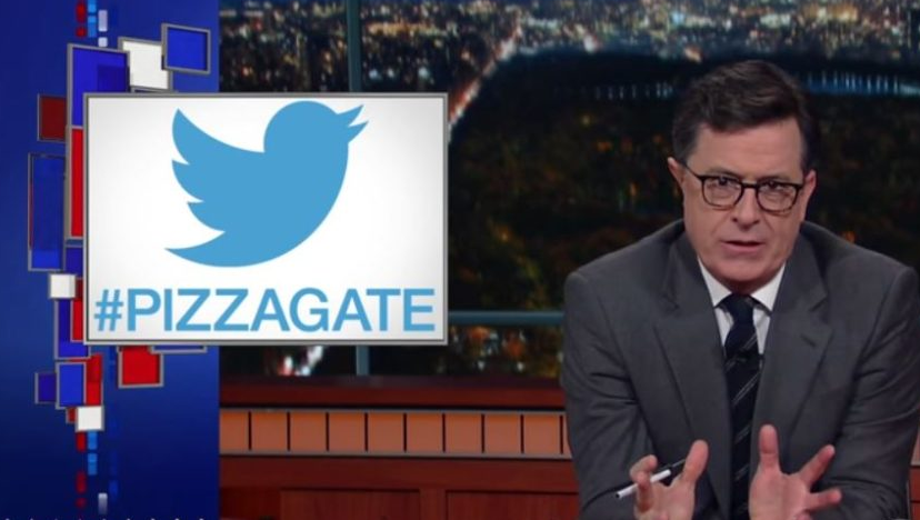 Colbert's CBS platform has been used multiple times to deride PizzaGate as fake news, without looking at the evidence.
