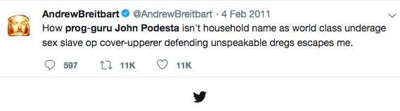 Breitbart knew, his Twitter was a barrage of anti-Podesta ridicule in the months before his death.