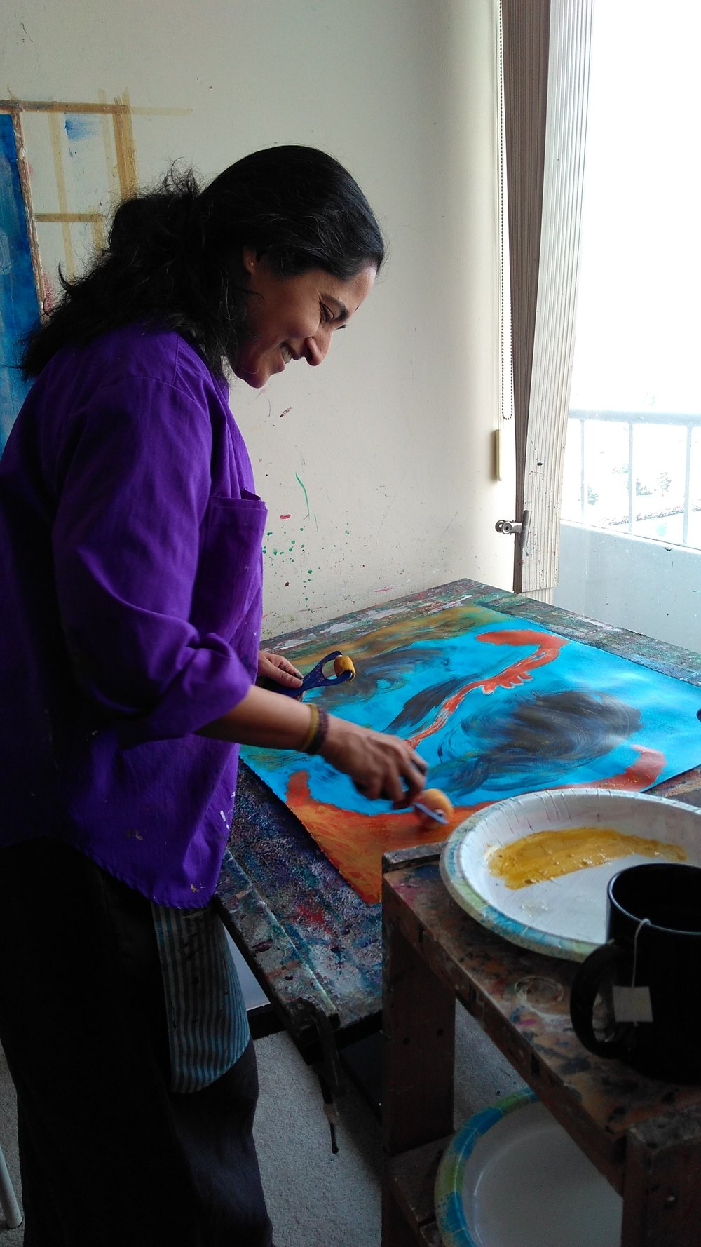 Painting in my teacher's studio in Vancouver, BC (photo by Anita Nairne, my luminous painting teacher)