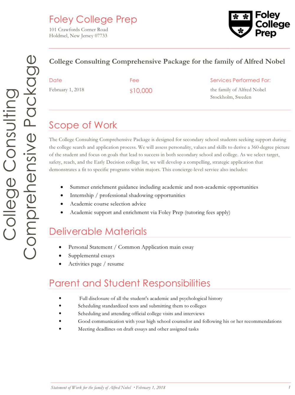 Comprehensive admissions package - We'll be with you until you get the fat envelope. $7,500 for 11th graders to $10,000 for 9th graders.press to view our 2 page sample agreement