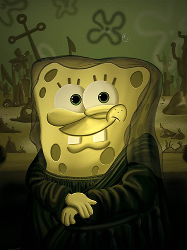 Spongebob Squarepants as Mona Lisa by French artist Marek Dolata