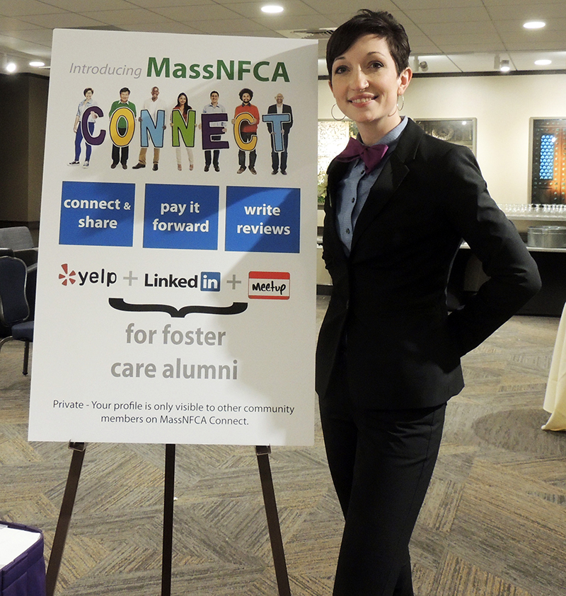 Grace unveiling MassNFCA Connect during an Annual Thanksgiving dinner for former foster youth and friends of foster care in Massachusetts. MassNFCA Connect is the first online platform of its kind, functioning as a combination of Yelp, LinkedIn, and MeetUp for current and former foster youth.