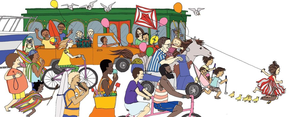 Here's the fantastical parade/stampede that wraps the front and back covers of our book.