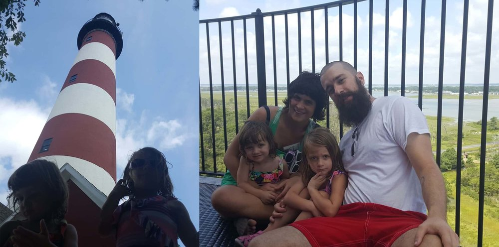 Our family at the bottom of the Assateague Lighthouse... and at the top.